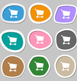 Shopping basket icon symbols Multicolored paper vector image