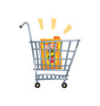 shopping cart with apple juice vector image vector image