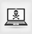 skull and crossbones on laptop screen vector image vector image