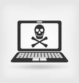 skull and crossbones on the laptop screen vector image