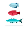 three different fish species icon flat vector image vector image
