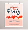 valentines day party flyer with red hearts vector image