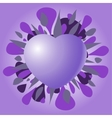 Violet Valentine heart on a purple background vector image