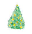 watercolor christmas tree with yel vector image vector image