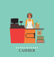 woman cashier smiles and standing in supermarket vector image