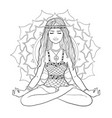 young woman sitting at pose of lotus vector image vector image
