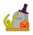 zombie and grave and pumpkin gravestone and dead vector image