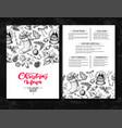 christmas menu chalkboard restaurant and cafe vector image