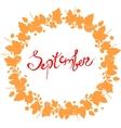 red September lettering in a frame of leaves vector image