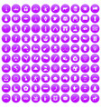 100 map icons set purple vector image vector image