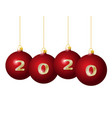 2020 golden numbers on red christmas balls hanging vector image