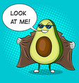 avocado exhibitionist in raincoat pop art vector image vector image