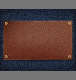 background of blue denim fabric with leather tag vector image
