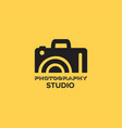 black icons for photographer on yellow background vector image vector image