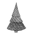 black white decorative christmas tree doodle vector image