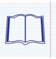 book sign navy line icon on notebook vector image vector image