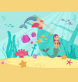 cartoon fairytale underwater background vector image vector image