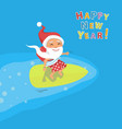 cartoon santa claus surfer vector image vector image