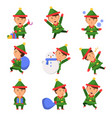 christmas elf santa helpers dwarfs in action pose vector image