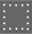 christmas lights square frame xmas light border vector image vector image