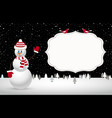 christmas night landscape with snowman vector image