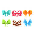 colorful bows collection bright bows can be used vector image