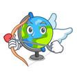 cupid globe character cartoon style vector image