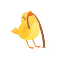 cute baby chicken catching a worm funny cartoon vector image vector image