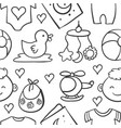 doodle of baby object style vector image vector image