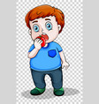 fat boy eating apple vector image vector image