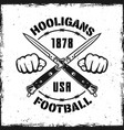 football hooligans vintage emblem with two knives vector image vector image