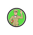 Gas Jockey Attendant Waving Circle Cartoon vector image