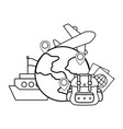globe with baggage vector image