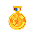 gold medal with star on a vector image
