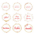 golden christmas wreath with red calligraphy vector image
