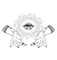 hand-drawn eye of providence in hands of witch vector image vector image