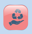 hand holding recycle symbol vector image