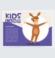happy boy dressed as elk cute kid in christmas vector image vector image