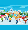 happy kids playing in winter vector image vector image