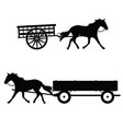 horse with carriage silhouette vector image