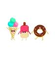Ice-cream And Doughnut Cartoon Friends vector image vector image