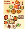 Korean and balkan cuisine dinner icon set vector image vector image
