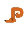 letter p is dog pet font dachshund alphabet vector image vector image