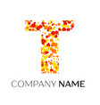 letter t logo with orange yellow red particles vector image vector image
