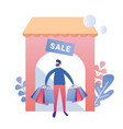 man after sale shopping at store ad flat banner vector image vector image