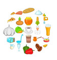 meal icons set cartoon style vector image