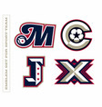 modern professional letter emblems for sport teams vector image