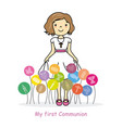 my first communion girl vector image vector image