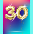 number thirty gold foil balloon on gradient vector image vector image