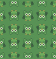 owl stylized art seamless pattern green colors vector image vector image